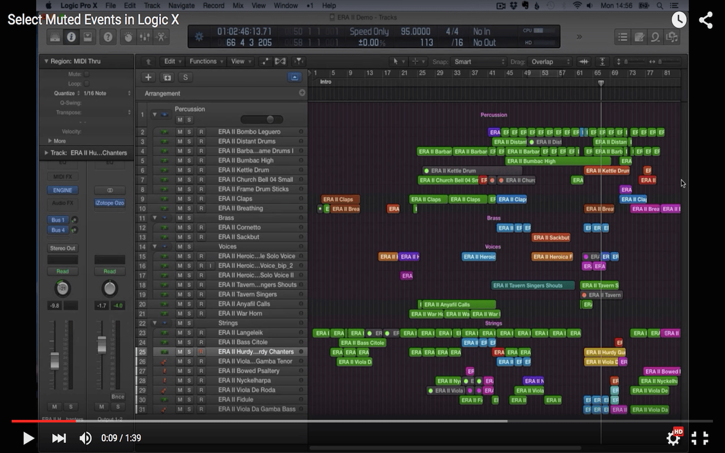 Select Muted Events in Logic X