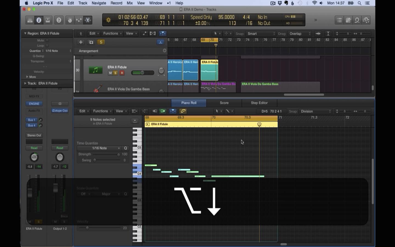 Transposing notes in Logic X